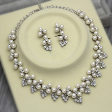 Dark Silver Plated Ivory Pearl and Rhinestone Crystal Wedding Necklace and Earrings Jewelry Sets elegant faux pearl crystal teardrop necklace and earrings