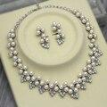 Dark Silver Plated Marfil Perla y Del Cristal Del Rhinestone Boda Collar y Aretes de Sistemas de La Joyería
