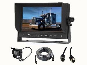 Conector Aviación de 4 pines, cámara de visión trasera de respaldo para coche 18 IR LED 7 pulgadas HD, Monitor LCD para coche, camión, autobús, caravana, caravana, furgoneta, remolque