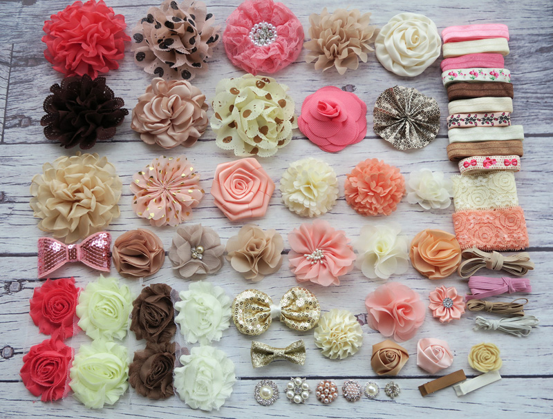 Shower Headband Station Kit, DIY Headband Making Kit,First Birthday Party Headband Kit,Hair Bow Kit ,shabby flowers,Diy S32 цена и фото
