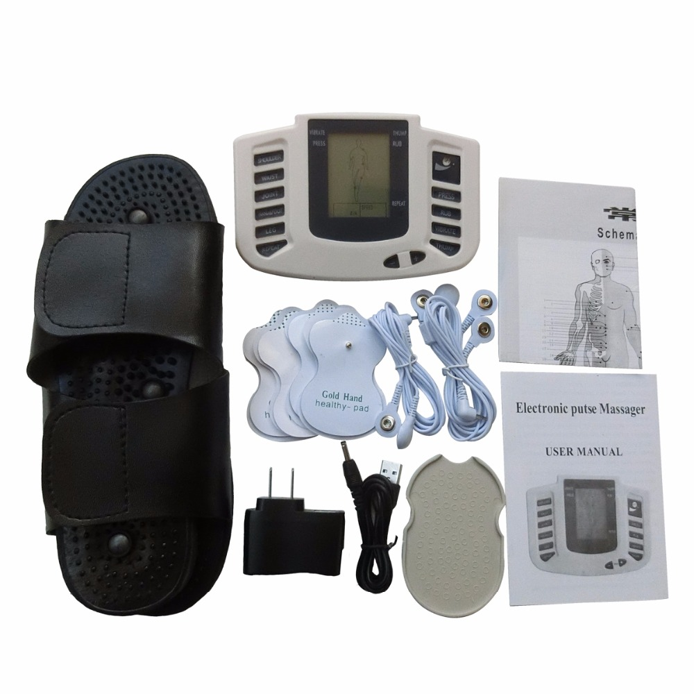 Health Care Electronic Pulse Therapy Massager Body Relaxation Muscle Stimulator LCD Screen Display With Conductive Black Slipper multifunctional health care product electronic lcd body massage therapy machine with foot slipper massager massagem