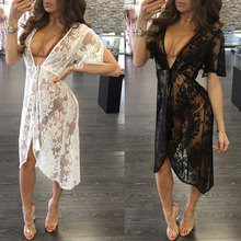 CALOFE Long Lace Sexy Beach Cover Up Swim Dress Women Bikini Swimwear Cover-up Swimsuit