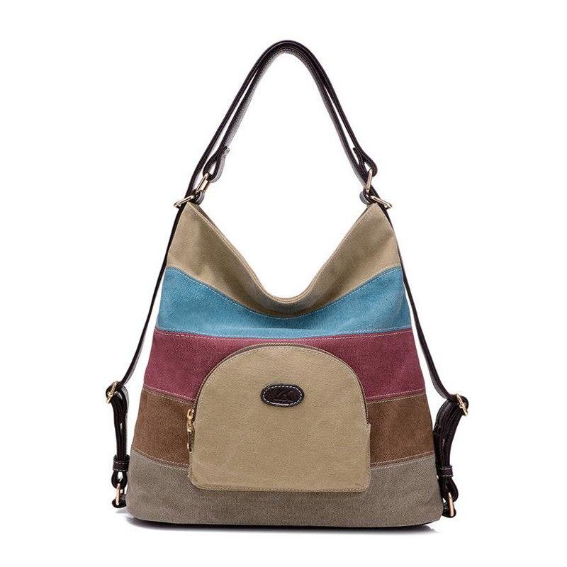 Multifunction Contrast Color Canvas Female Tote Bag Retro Fashion Single Shoulder Bag Creative Design Messenger Bags