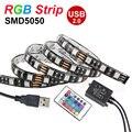 USB DIODO EMISSOR de luz Tira Flexível do DIODO EMISSOR de Luz SMD5050 RGB Tira CONDUZIDA DC5V luzes IP65 50 CM 1 M 2 M Com 24 teclas de Controle Remoto TV Fundo Iluminação