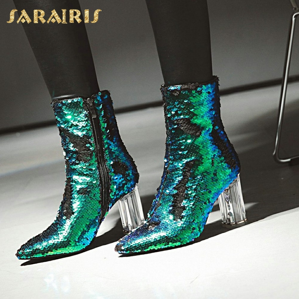 SARAIRIS New plus Size 32-43 Sequin Add Fur Winter Boots Woman New Fashion Dropship Zip Up Ankle Boots Woman Shoes Woman sequin embroidered zip up jacket page 1