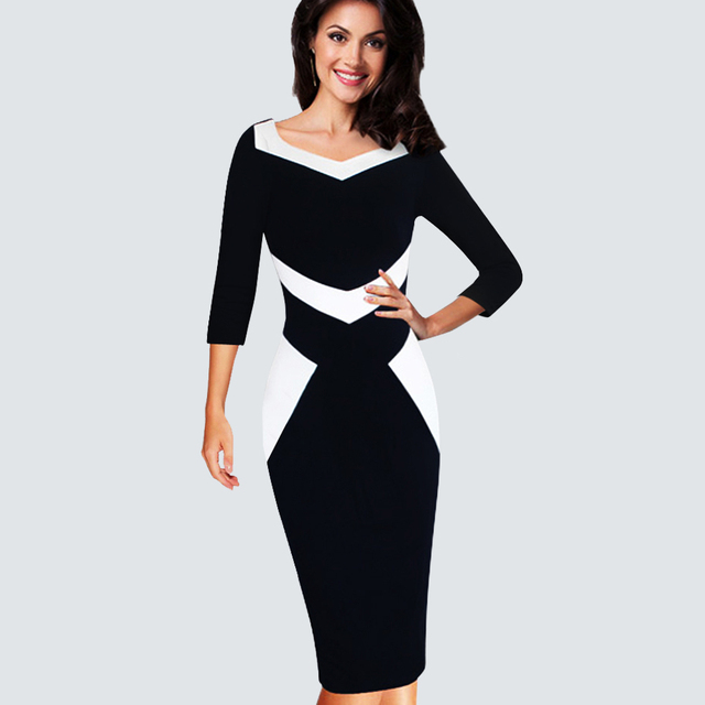 c3777ea5c32 Women Casual Wear To Work Office Business Patchwork Bodycon Dress Elegant  Colorblock Contrast Sheath Fitted Autumn