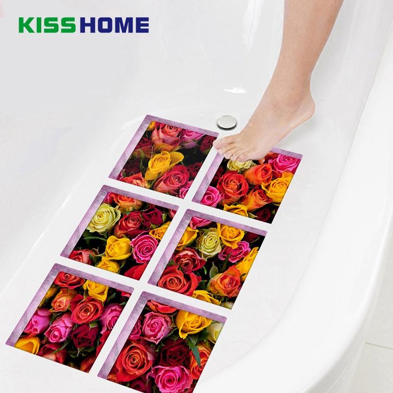 6pcs/bag Bathtub Stick Wall Sticker Imitation 3D Realistic Creative Bathroom Children Safe Mat 15cmx15cm Rose Flower Jigsaw Mats