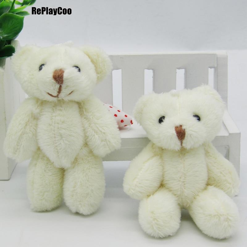 100PCS LOT Kawaii Small Joint Teddy Bears Stuffed Plush 8CM Toy Teddy Bear Mini Bear Ted