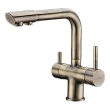 Смеситель для кухни под фильтр WasserKRAFT A8037 (Керамический картридж, встроенный аэратор, латунь, «светлая бронза»)