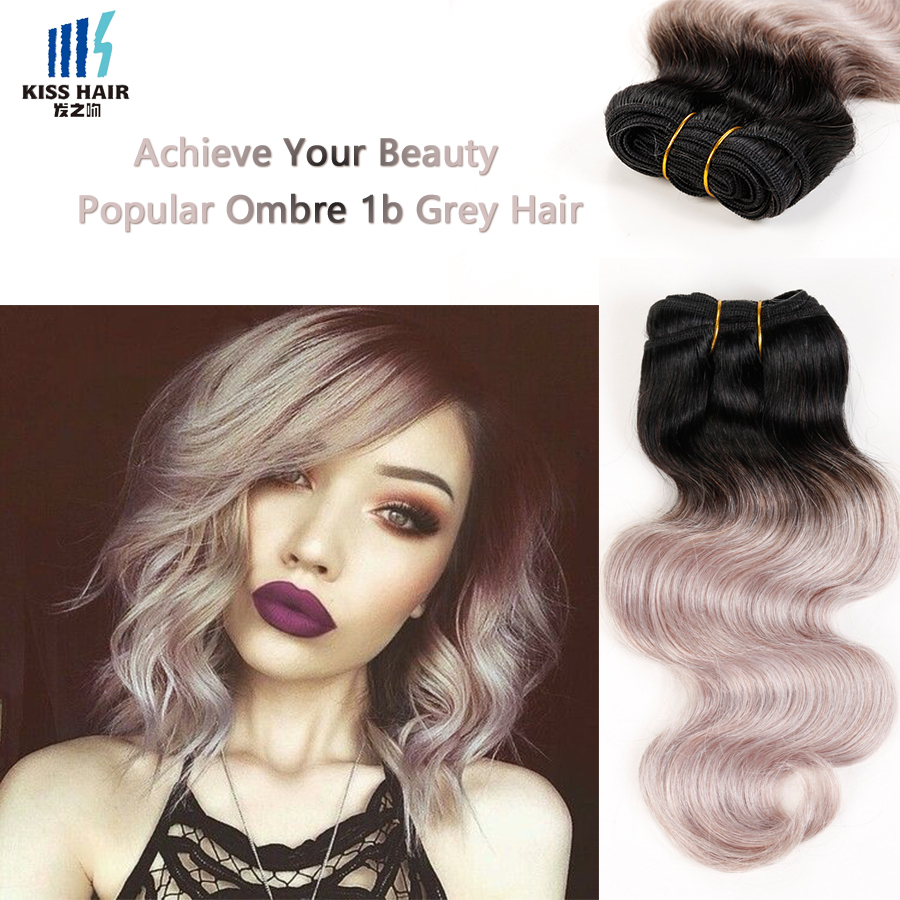 1 Bundle Gray Hair Weave 1B Grey Ombre Brazilian Hair 2 tone Colored Brazilian Body Wave Kiss Hair Fashion Ombre Hair Extensions