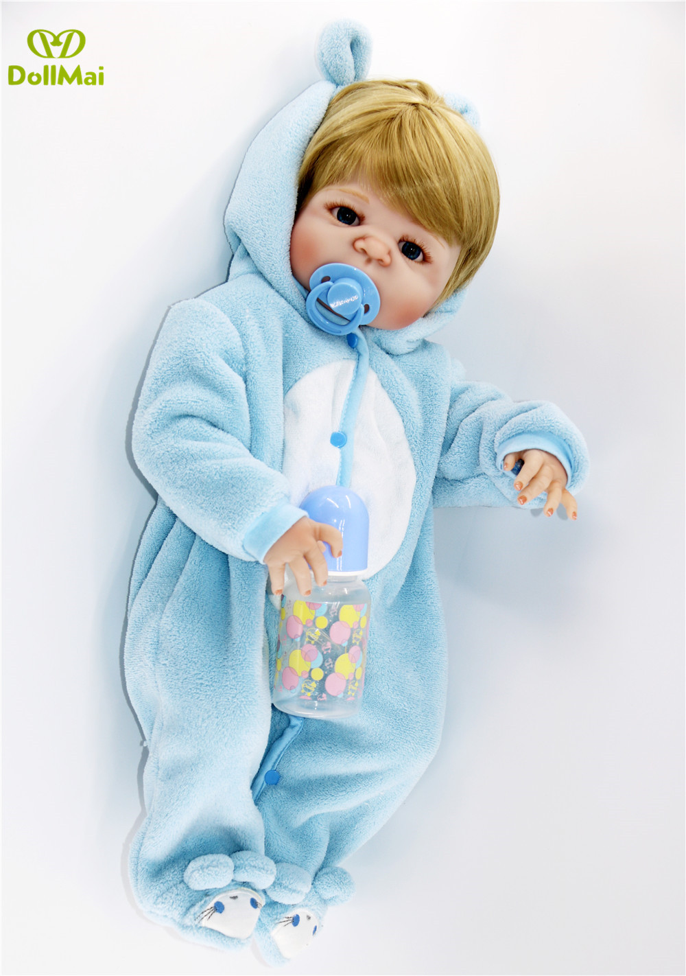 Bebe reborn poupées 57CM réaliste pleine Silicone bébé garçon poupée en mignon doux peluche vêtements vivants bébés poupées comme filles Playmate - 5