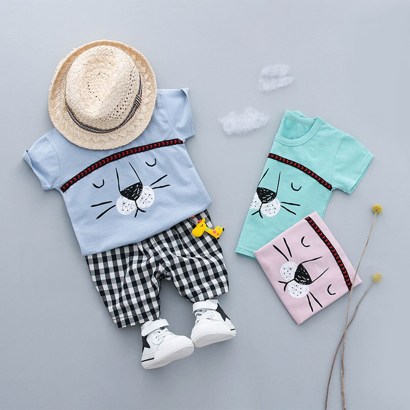 Summer Newborn Outfits Casual Baby Boys Suit Sports T-Shirt Top+ Plaid Pant Short Sleeve Infant Clothing Casual Set Clothes