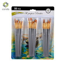 цена на CONDA Detail Paint Brush 50Pcs/set with Nylon Hair and Short Handle for Watercolor Oil Painting Art Supplies