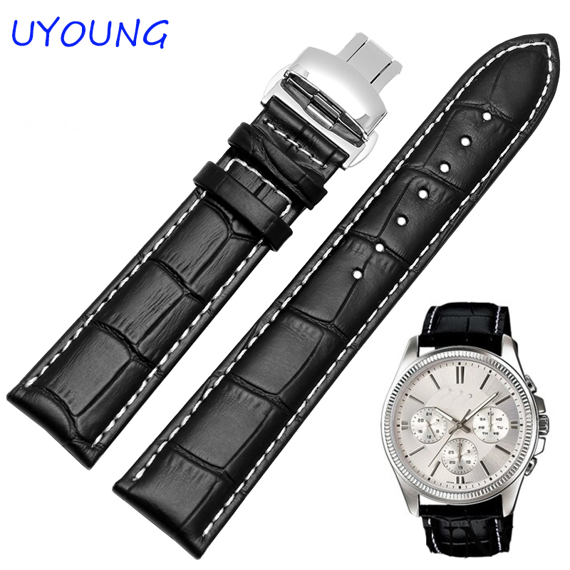 18/19/20/21/22/24mm Hot Sale Genuine Leather Watchband Black Brown Watch accessories For Tissot Strap Bracelet hot sale watchband high quality leather watch accessories for women 14 15 16 17 18 19 20 21 22 23 24 mm strap belt free shipping