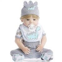 SanyDoll 22 inch 55 cm Silicone reborn dolls, lifelike doll reborn Cute dinosaur pattern Saliva towel blond boy