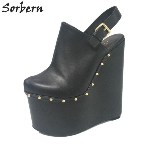 Women Black Extrem High Heel Wedges 20Cm Pointed Toe Slingbacks Women Platform Shoes Spring 2018 Designer Heels Runway Shoes