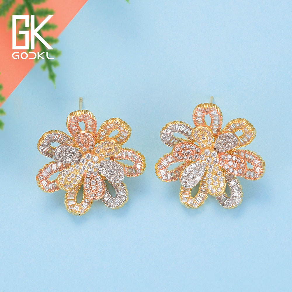 GODKI Fashion Korean Flower Stud Earrings For Women Wedding Cubic Zirconia Crystal CZ Bohemian Dubai Bridal Silver Stud Earrings pair of stylish rhinestone triangle stud earrings for women