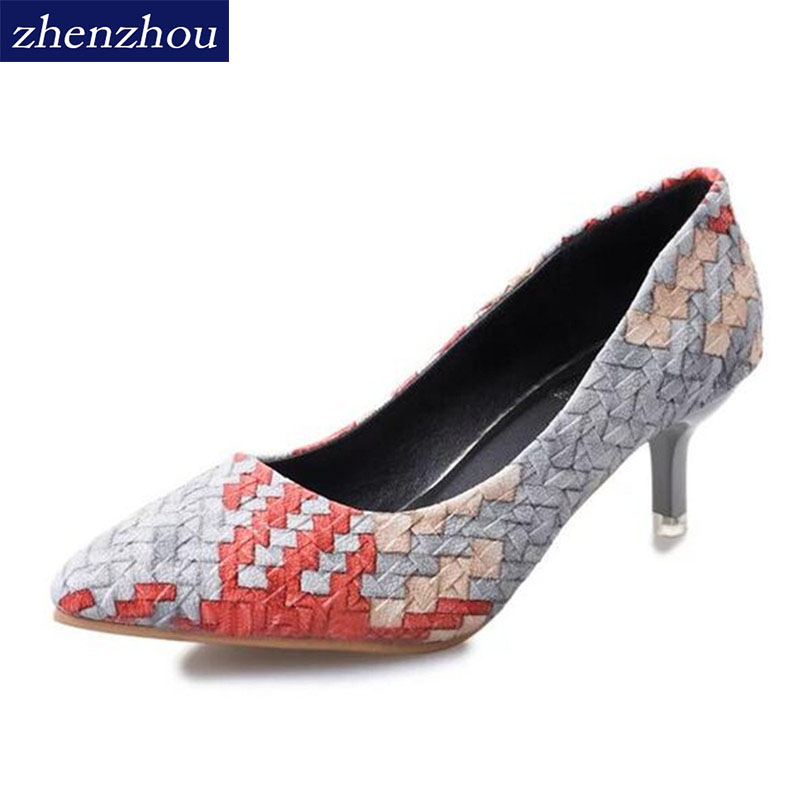 Pumps NEW 2017 fashion pointed mouth with a shallow mouth with a fine temperament weaving OL temperament comfortable work shoes top sale spring women fashion pumps high heels shallow mouth fine with floral elegant pointed toe ol shoes work wear comfortable