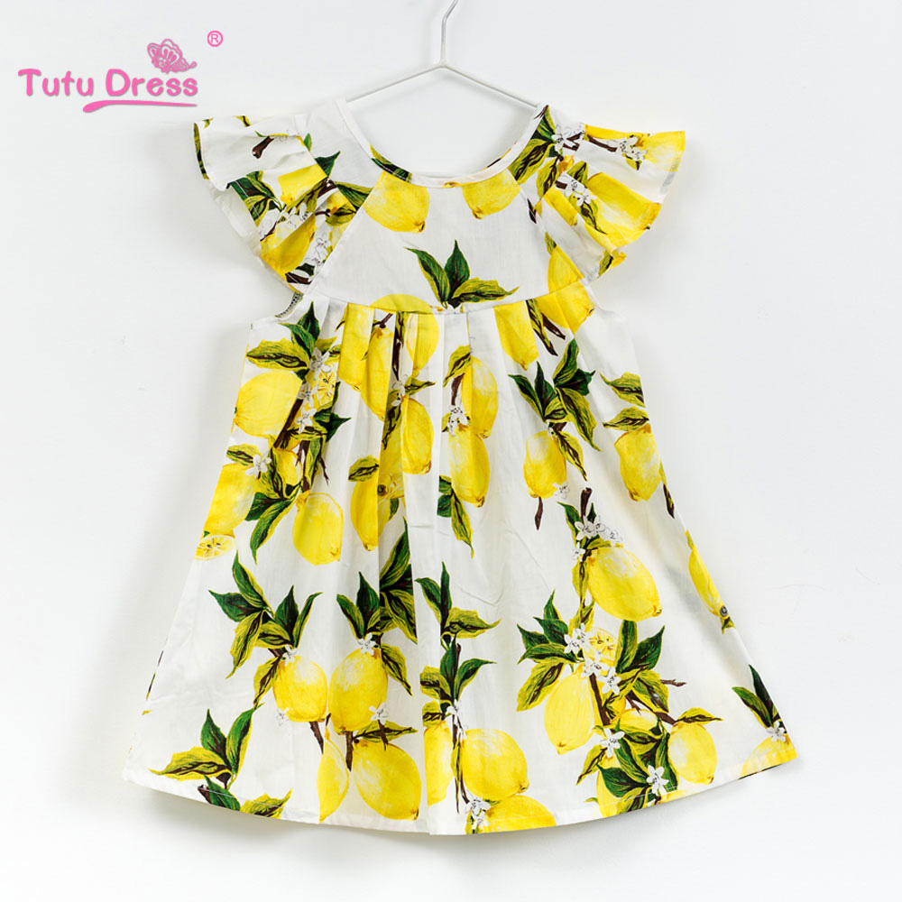 Girls Summer Floral Baby Girl Dress Brand Cotton Short sleeve Dress  2018 New Arrival Baby Girl Clothes Lemon Dress OutfitsGirls Summer Floral Baby Girl Dress Brand Cotton Short sleeve Dress  2018 New Arrival Baby Girl Clothes Lemon Dress Outfits