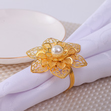 12PCS Western-style flower pearl napkin ring Hotel set table Wedding wedding buckle