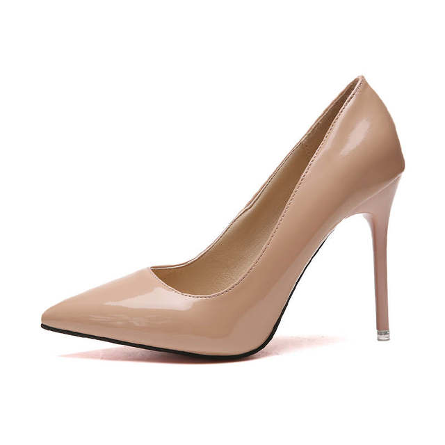 2019 HOT Women Shoes Pointed Toe Pumps Patent Leather Dress  High Heels Boat Shoes Wedding Shoes Zapatos Mujer Blue White 35