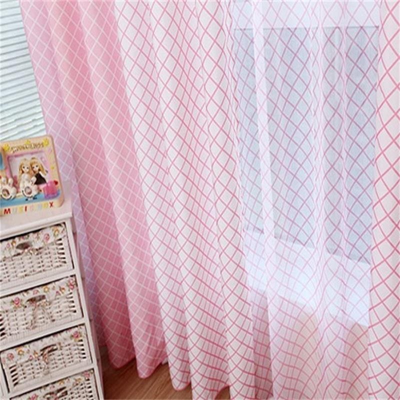 Korean Pink Plaid Blackout Window Curtains Drapes Shades for Living ...
