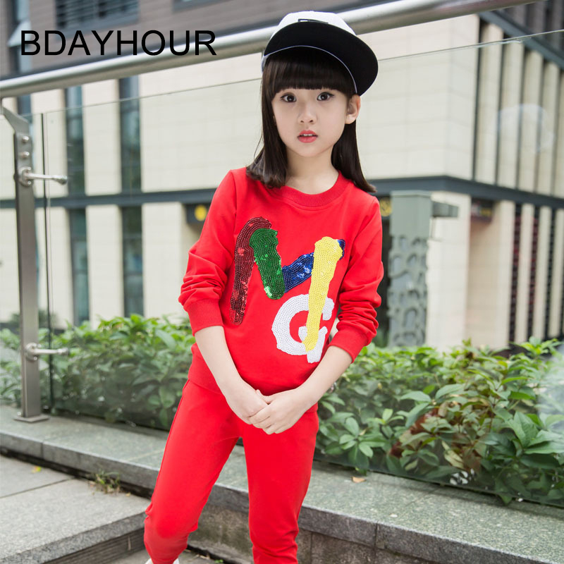 ФОТО Spring Girl 2017 New Korean Sequins Decorative Fashion Long-Sleeved Round Neck Suit Casual Girl Suit Two-Piece (Sweater+Pants)