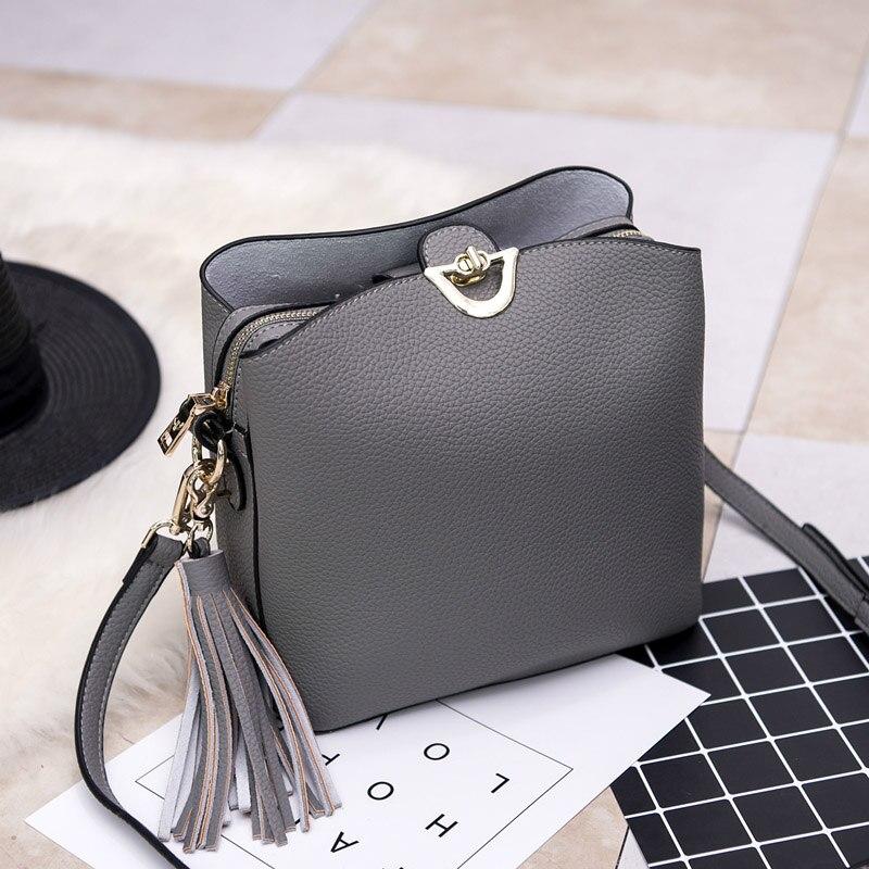ФОТО 2017 New Arrival Vintage Real Leather Shoulder Bag Women Genuine Leather Handbag Designer Leather Purses Fashion Bag With Tassel