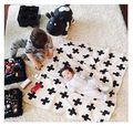 Wide Knitted Baby Blanket Black White Bedding Quilt Swaddle Rabbit Cross Maillot Child Bath Towel Play Mat Set Mantas 130*110cm