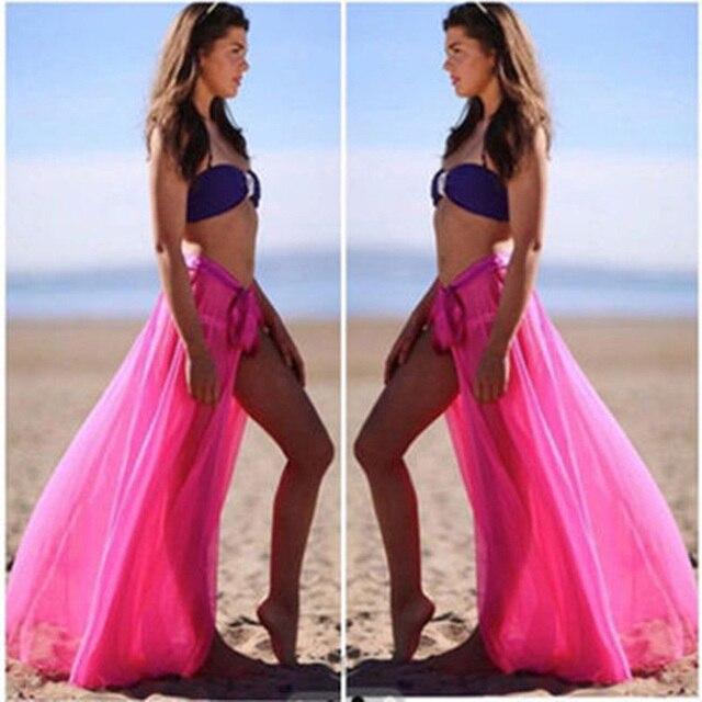 96b31518ad 2018 Sexy Summer Women Bikini Skirts Cover Up Swimwear Sheer Beach Maxi  Long Skirt Wrap Boho Style Ladies Apparel Beach Skirt