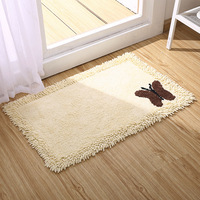 Cotton chenille mats Bedroom bedside rug bathroom Water absorption mat living room creative butterfly pattern non slip carpet
