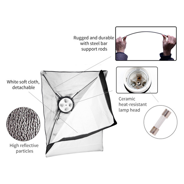 Photography Lighting 50x70CM Four Lamp Softbox Kit E27 Holder With 8pcs Bulb Soft Box AccessoriesFor Photo Studio Video 1