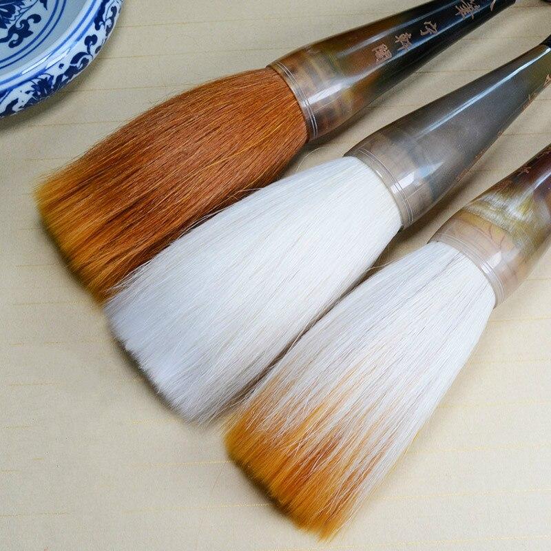 лучшая цена Chinese Traditional Calligraphy Brush Pen Horn Penholder Hopper-shaped Brush Large Woolen Hairs Writing Couplets Painting Brush