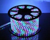 50 м SMD 5050 AC220V RGB Светодиодные ленты гибкий свет 60 Светодиодный/m Водонепроницаемый светодиодный ленты светодиодный свет с Мощность разъем