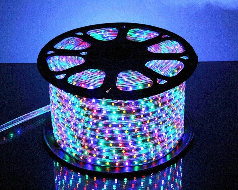 50 mètre SMD 5050 AC220V RGB LED Bande Flexible Lumière 60 led/m Imperméable À L'eau Led Bande A MENÉ La Lumière Avec plug Power