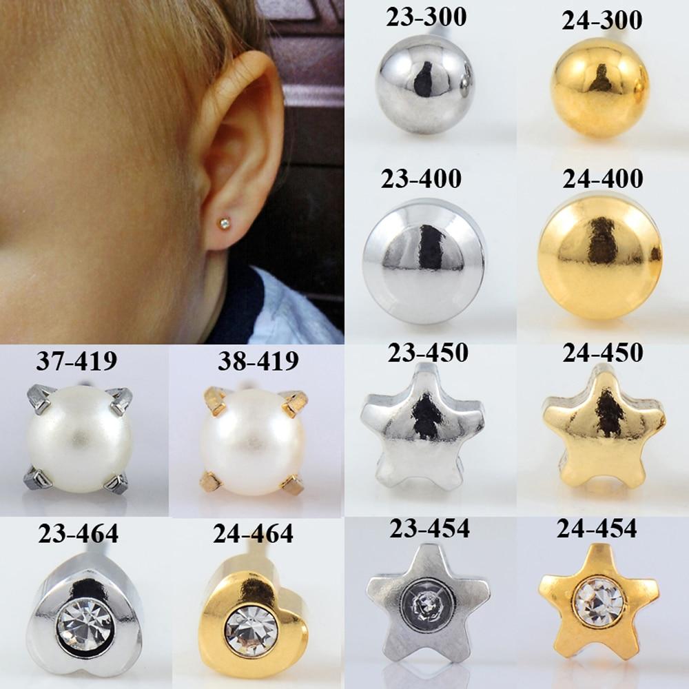 BOG- Pair 20g Surgical Steel Full Moon Star Gem Heart Pearl Ear Stud Earrings Studs Tragus Cartilage Fashion Piercing Jewelry