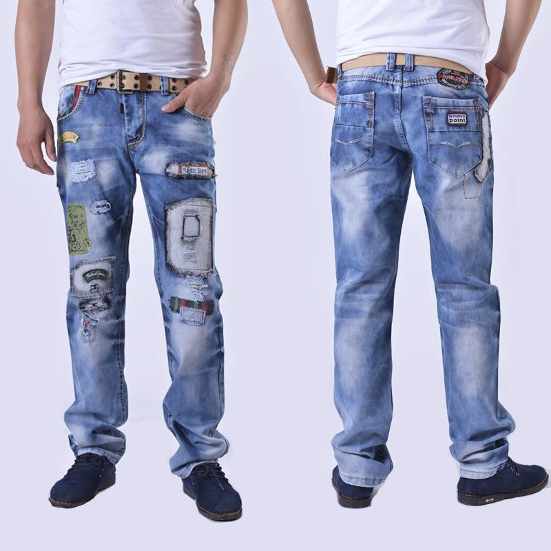 цены  fashion brand cotton men jeans luxury Men's casual denim trousers hole zipper Slim light blue ripped printed jeans for men