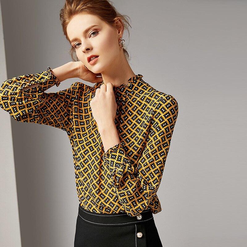 Neue 100Seide Geometric Frauen Pullover 2019 Print Fr Bluse ChdxtQrBs
