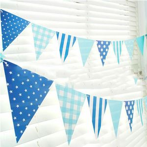 Image 1 - 3m 12 Flag Blue/Pink Paper Board Garland Banner For Baby Shower Birthday Party Decoration Kids Room Decoration Garland Bunting