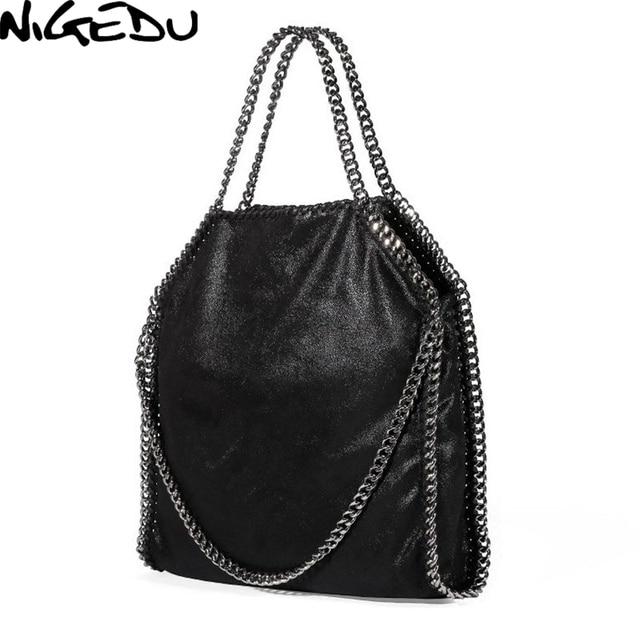 NIGEDU Mulheres Saco PU bolsa de Couro Sacos de Mensageiro Do Ombro das Mulheres da Cadeia de Moda Bolsa Feminina Carteras Mujer bolsas Totes das Mulheres