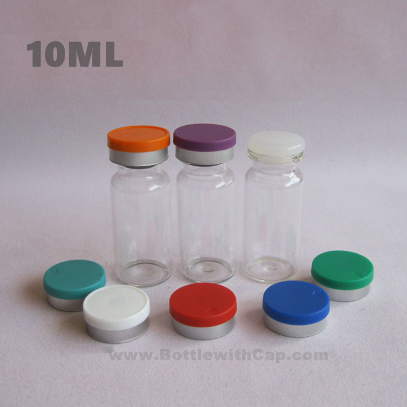 50*10ml Glass vials & flip ff cap Antibiotic medicine bottle transparent glass bottle