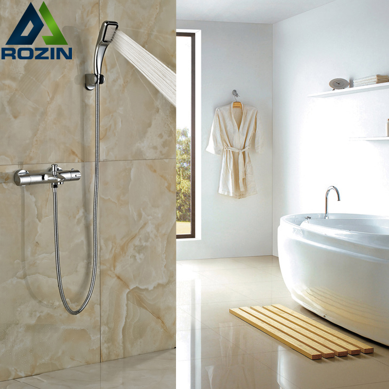 Polished Chrome Handheld Shower Faucet Wall Mounted Thermostatic Mixer Dual Handles mojue thermostatic mixer shower chrome design bathroom tub mixer sink faucet wall mounted brassthermostat faucet mj8246
