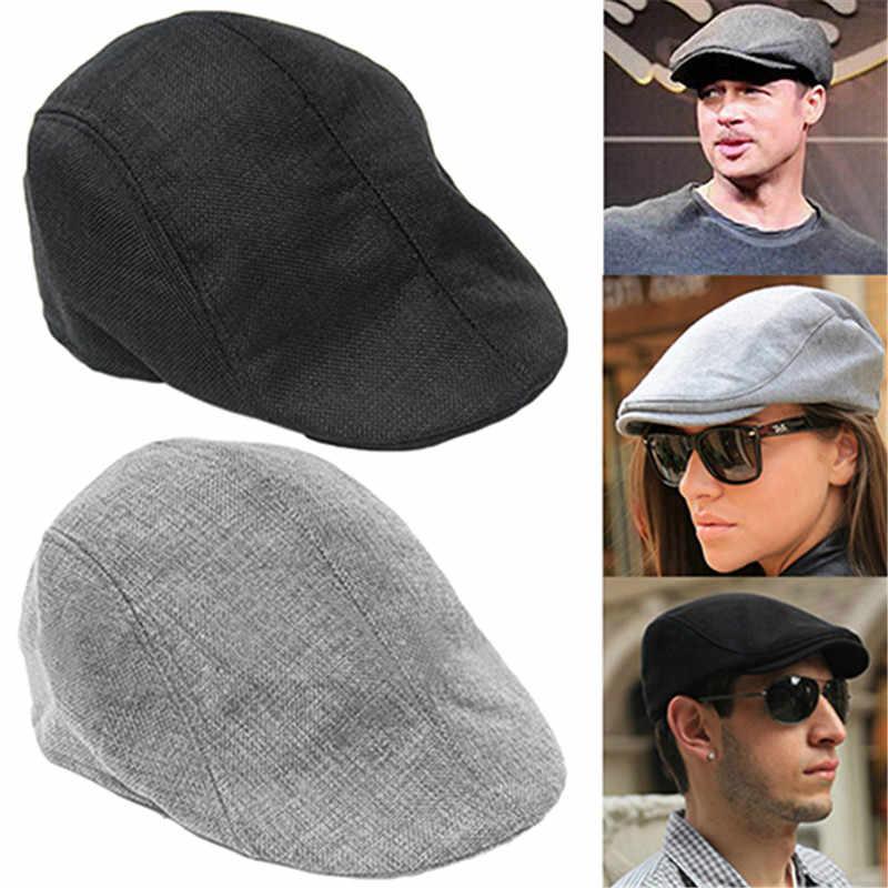 7185af1ce7e 2018 Summer Beret Caps for Men Women Vintage news boy cap Cabbie Gatsby  Linen Outdoor Hats