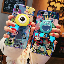 For iphone XS max Cute Monsters Case,Soft Sullivan Mike cover For iphone 8plus 8 X XR 6 6s 6sp 7 7P Cartoon Shell +stander+strap(China)