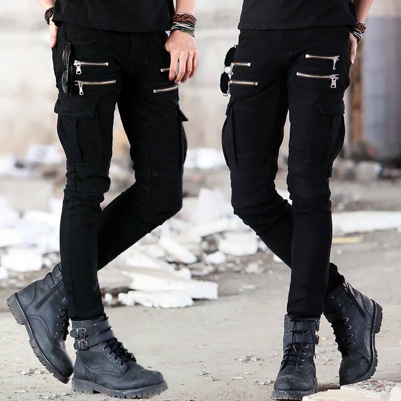 Green Black Denim Biker Jeans  1