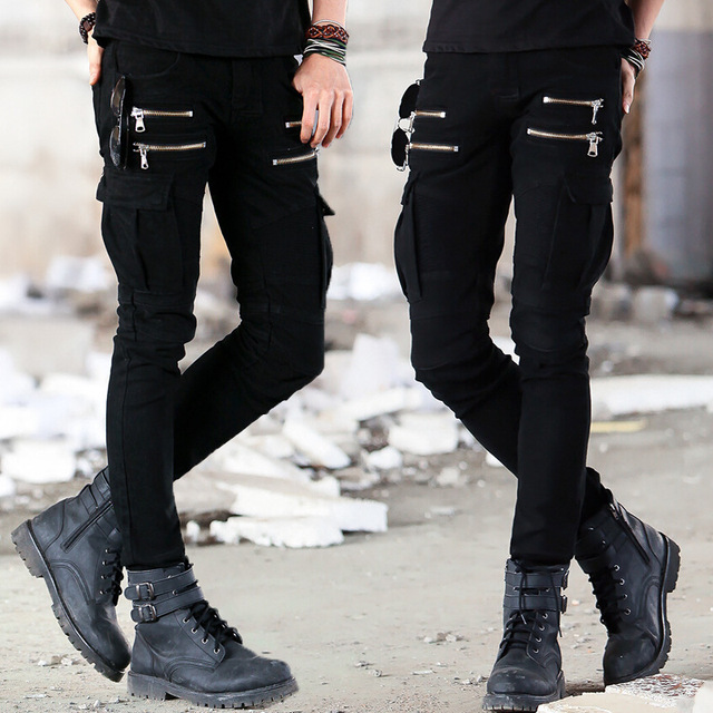 Denim Biker Distressed Slim Elastic Jeans
