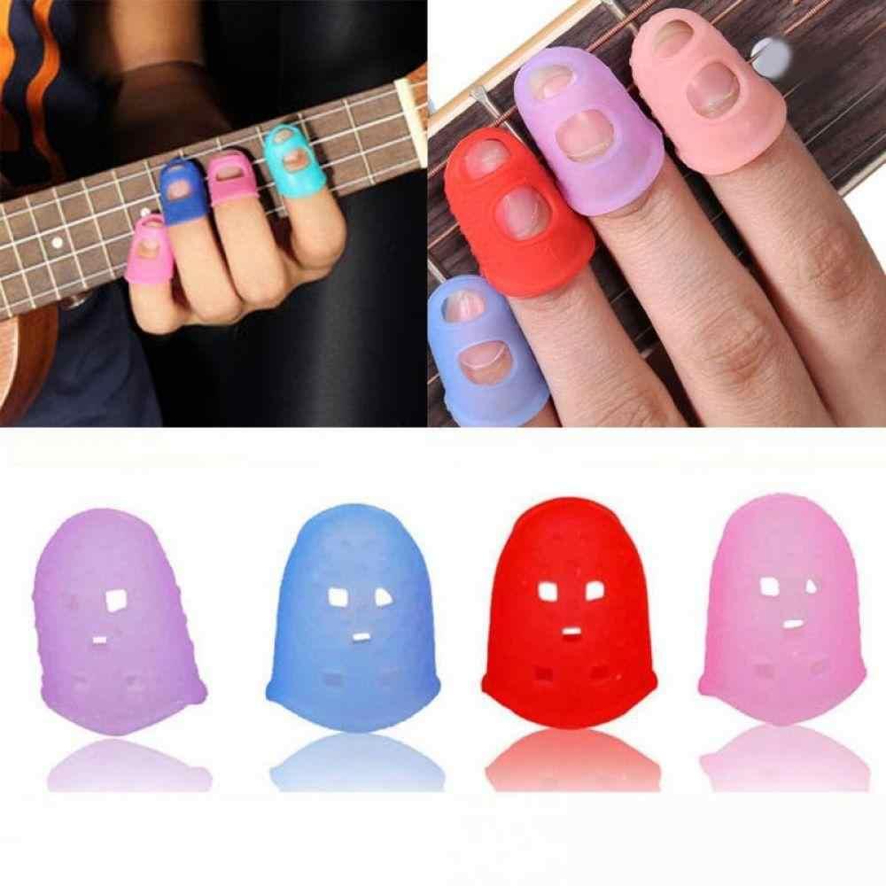 4 unids/set de protectores de dedos de silicona protectores de dedos de guitarra para ukelele guitarra S M L Color al azar