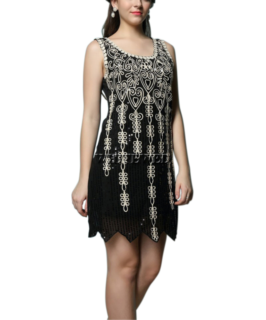 Vintage Sparkle Embroideried 1920 S Art Deco Sequin Gatsby Fler Inspired Style Gowns Dresses Costume