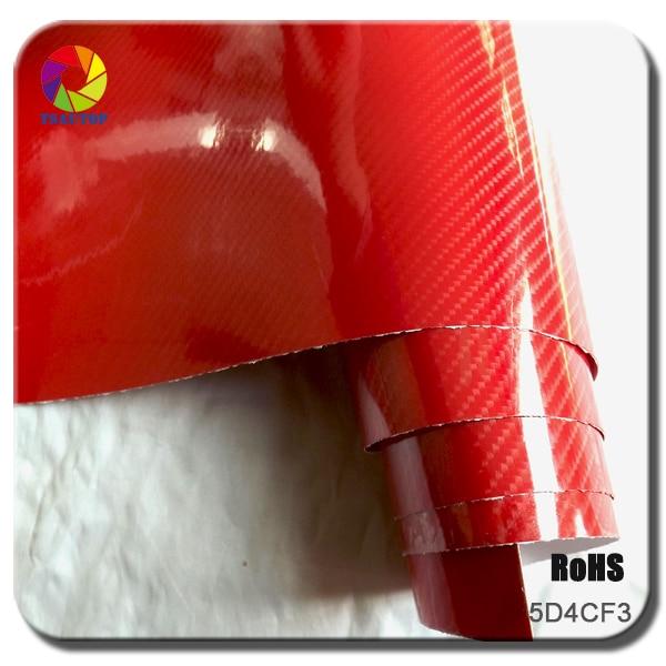 TSAUTOP 1.52x20m воздуха свободные пузыри глянцевый 5д углеродного волокна винил автомобиля стикер красный (4Д праймер)