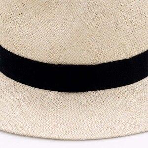 Image 2 - Unisex Handmade Naturale Sisal Cappello di Estate per le Donne Degli Uomini Cappello Da Sole Tesa Larga di Paglia Trilby Fedora Genuino Havana Retro Beach della Protezione di Jazz